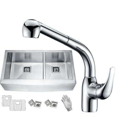 Elysian Farmhouse Stainless Steel 33 in. 60/40 Double Bowl Kitchen Sink with Faucet in Polished Chrome