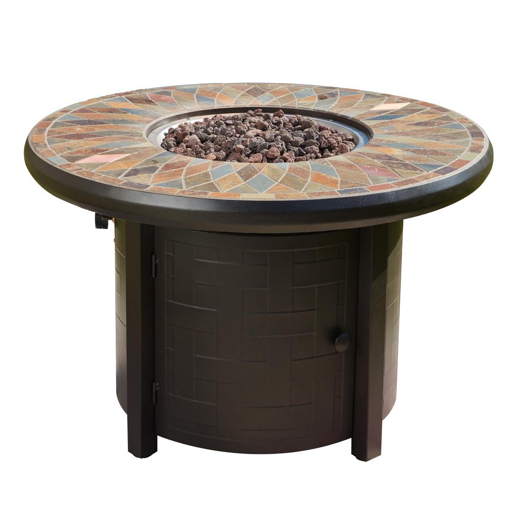 Patio Festival 41.3 in. x 27 in. Round Metal Propane Fire Pit Table with Lava Stone