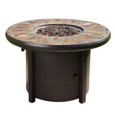 41.3 in. x 27 in. Round Metal Propane Fire Pit Table with Lava Stone