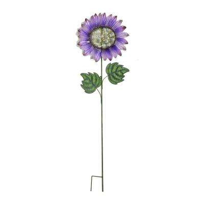 48 in. Metal Glitter Sunflower on Wobbly Stake in Purple