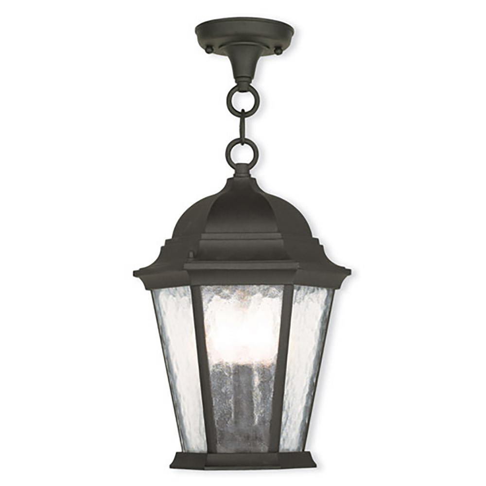 Hamilton 3-Light Textured Black Outdoor Hanging Lantern