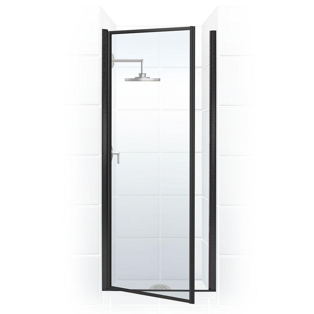 coastal shower doors legend series 24 in x 64 in framed hinged shower door in black bronze. Black Bedroom Furniture Sets. Home Design Ideas