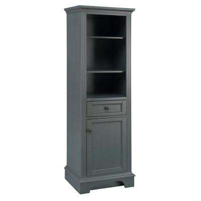 Rosamund 22 in. W x 68 in. H Linen Cabinet in Charcoal Grey