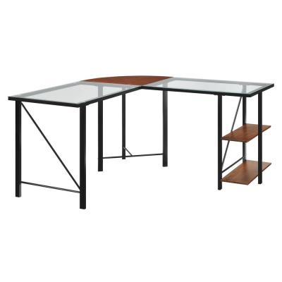 59 in. L-Shaped Black Computer Desks with Glass Top