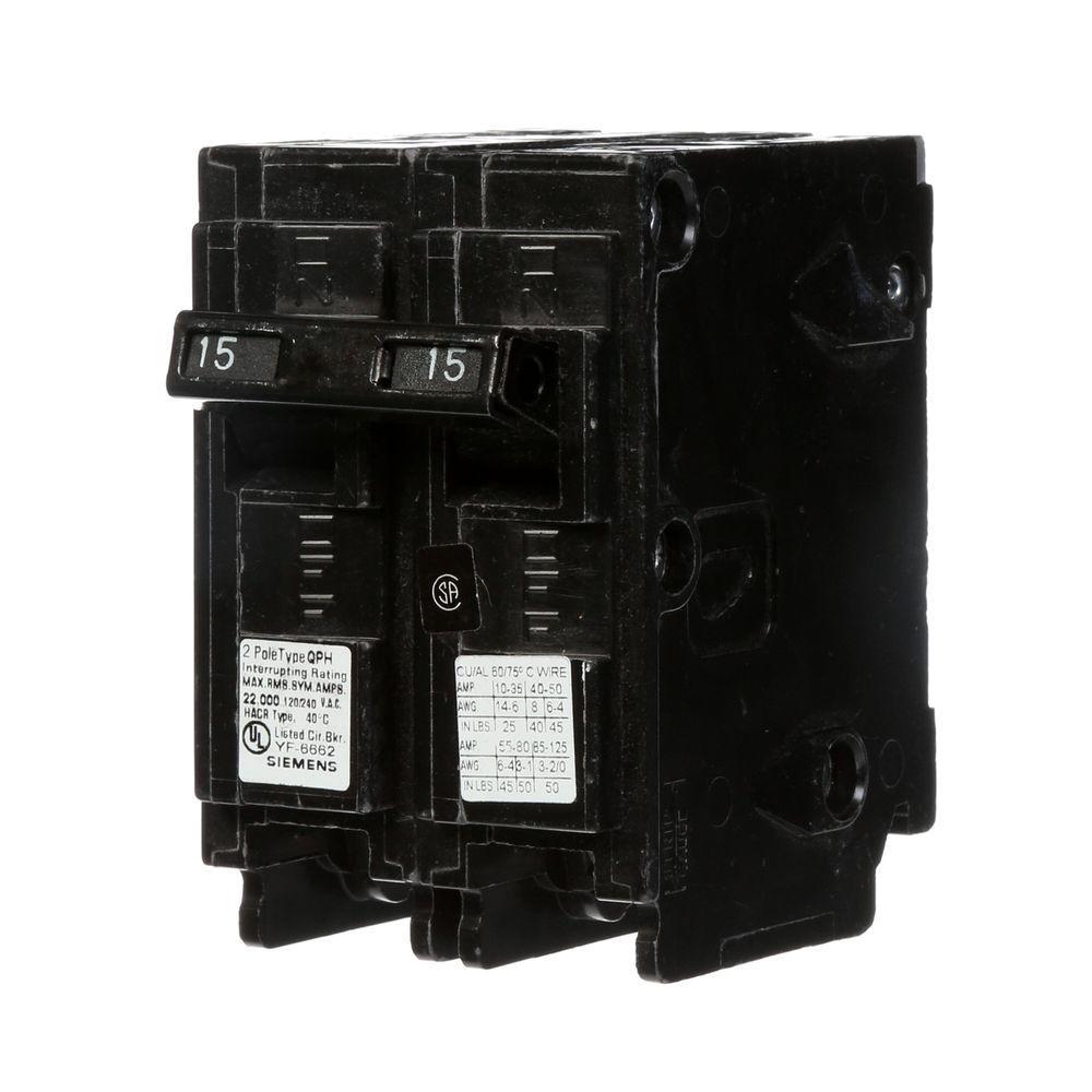 Siemens 15 Amp Double-Pole Type QP Circuit Breaker-Q215 - The Home Depot