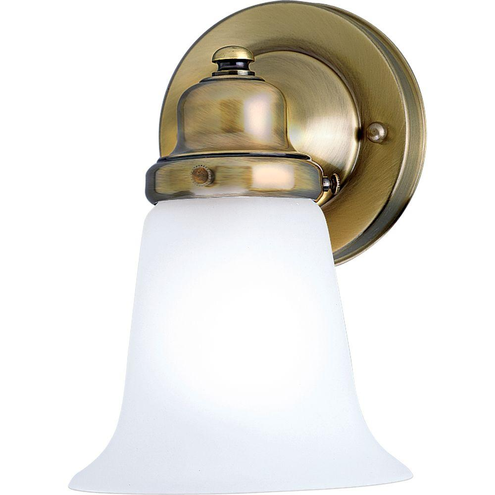 progress lighting 1 light antique brass bath sconce with white glass shade p3832 11 the home depot. Black Bedroom Furniture Sets. Home Design Ideas