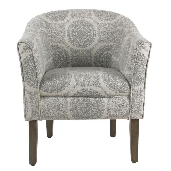 Homepop Gray Medallion Barrel Shaped Accent Chair