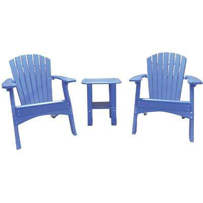 Blue 3-Piece Poly-Lumber Folding Patio Conversation Set