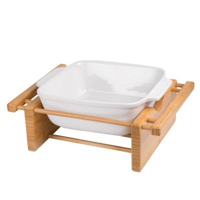 Stoneware 9 in. x 9 in. Square Baking Pan Casserole Baking Dish with Bamboo Cradle for Cooking Cake Dinner Banquet