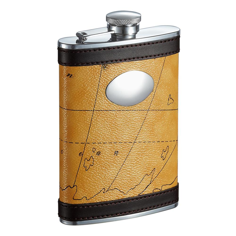 Globe Yellow and Brown Pattern Liquor Flask