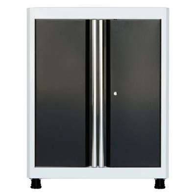 36 in. H x 30 in. W x 18 in. D Steel Base Cabinet in  White/Charcoal