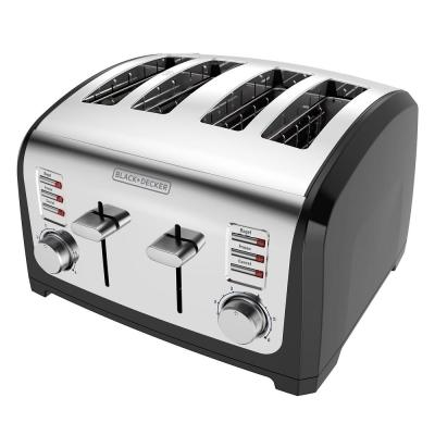 BLACK+DECKER-4-Slice Stainless Steel Wide Slot Toaster with Crumb Tray