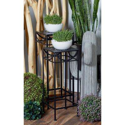 Black Iron Pierced-Top Square Plant Stands (Set of 3)