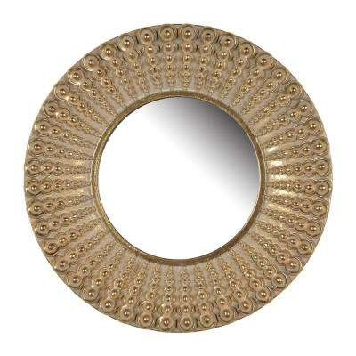 Aubrey 14 in. Gold Round Mirror