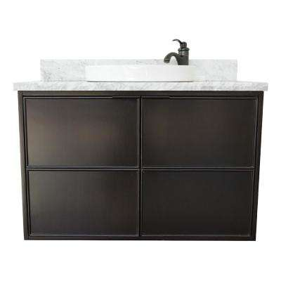 Scandi IV 37 in. W x 22 in. D Wallmount Bath Vanity in Cappuccino with Marble Vanity Top in White with White Round Basin