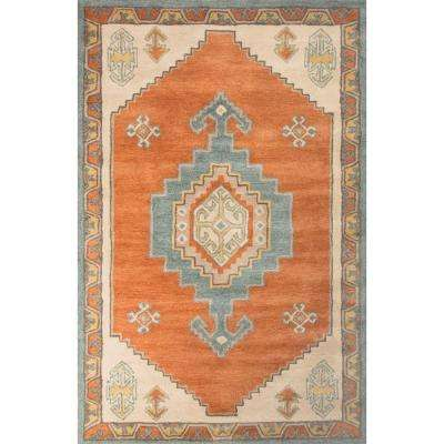 Hand-Tufted Apricot Orange 8 ft. x 10 ft. Tribal Area Rug