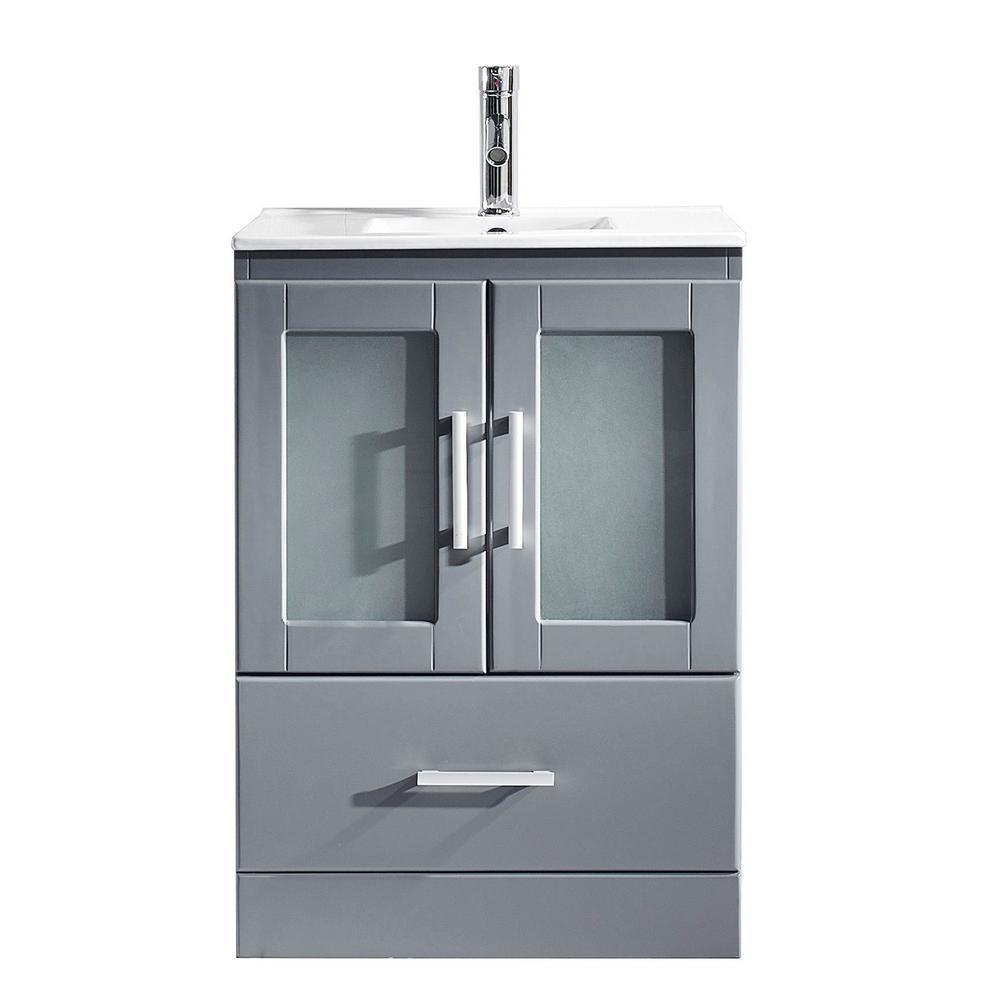 Virtu USA Zola 24 in. W Bath Vanity in Gray with Ceramic Vanity Top in Slim White Ceramic with Square Basin and Faucet