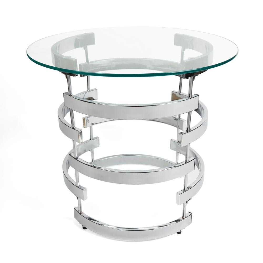 Danya B Signature 24 In Dia Chrome End Table With Tempered Clear