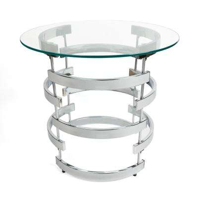 Signature 24 in. Dia Chrome End Table with Tempered Clear Glass