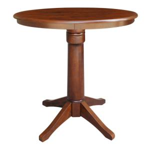 36 in. Espresso Solid Wood Round Olivia Counter Height Pedestal Table