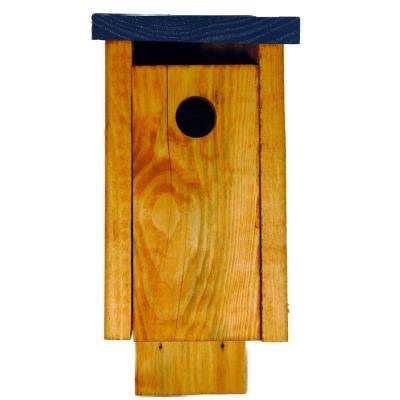 Finished Pine Chickadee Bird House with Blue Painted Roof