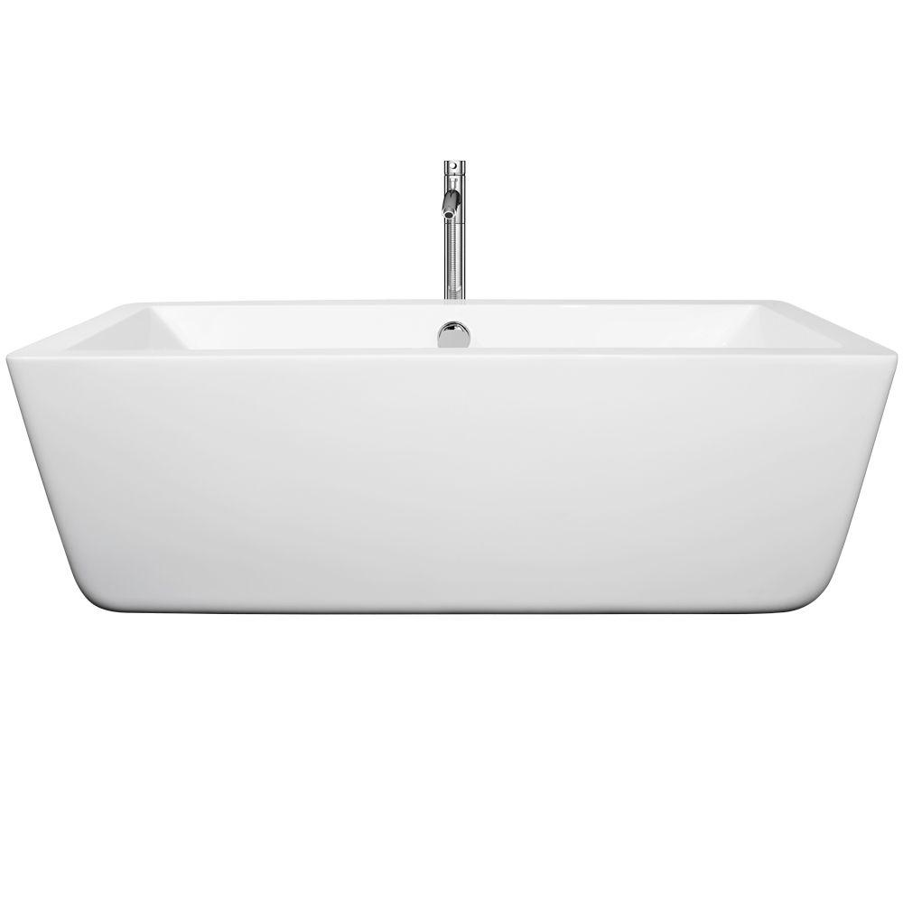 Laura 66.5 in. Acrylic Flatbottom Center Drain Soaking Tub in White