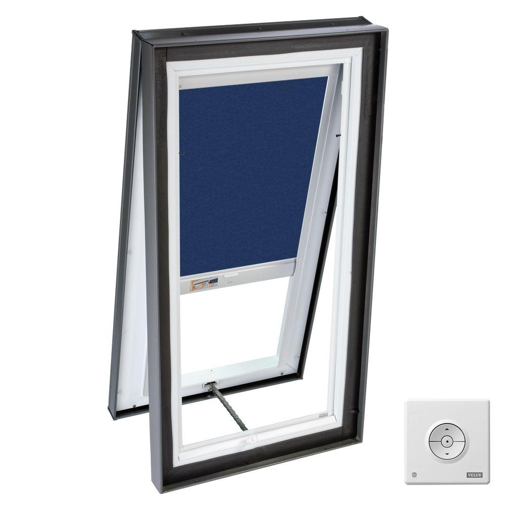 VELUX 22.5x22.5 in. Venting Manual Curb-Mount Skylight with Tempered Glazing, Blue Solar Light Filtering Blinds-DISCONTINUED