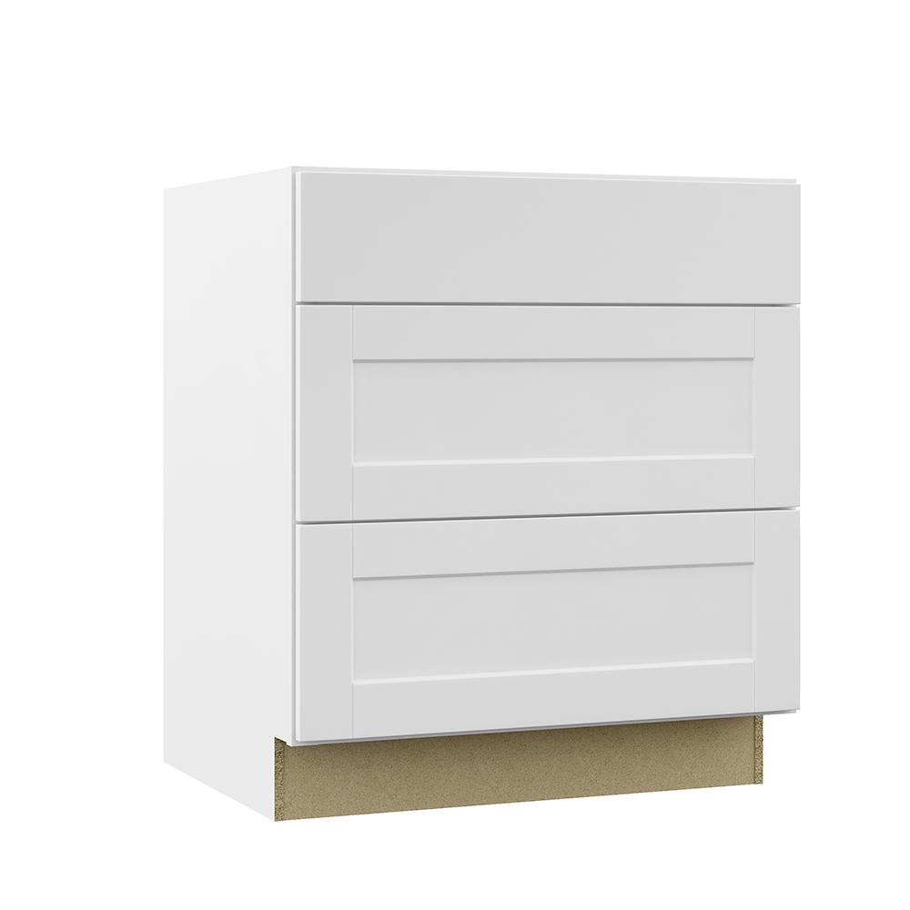Hampton Bay Shaker Assembled 30x34.5x24 in. Pots and Pans Drawer Base Kitchen Cabinet in Satin White