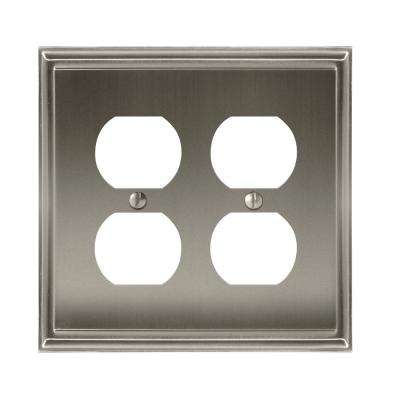 Mulholland 2-Duplex Outlet Wall Plate, Satin Nickel