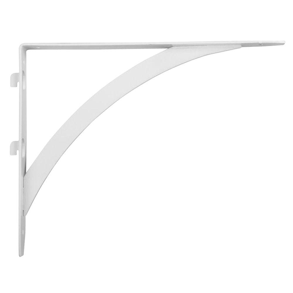 10.25 in. x 7.7 in. White Dual Track Elegant Shelf Bracket