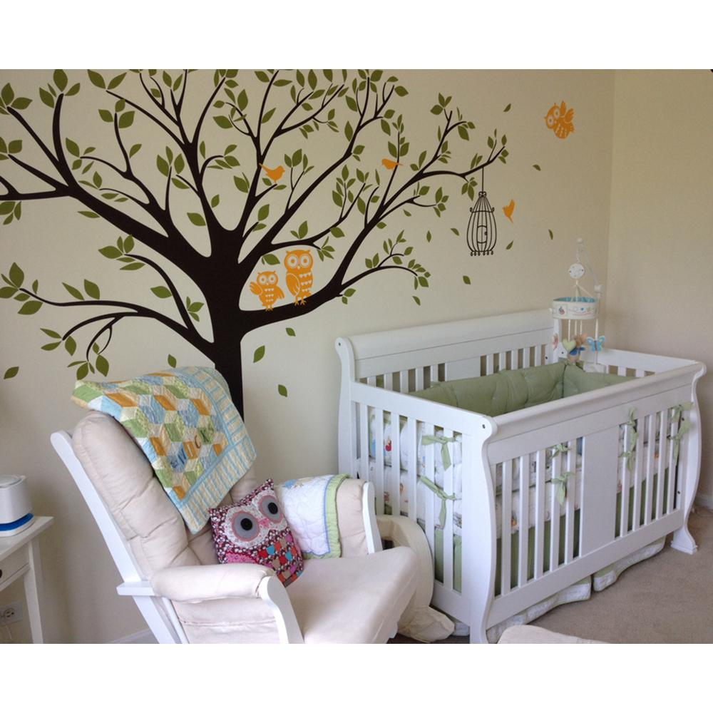 98 In X 80 Colorful Nursery Tree With Cute Owls Removable Wall Decal