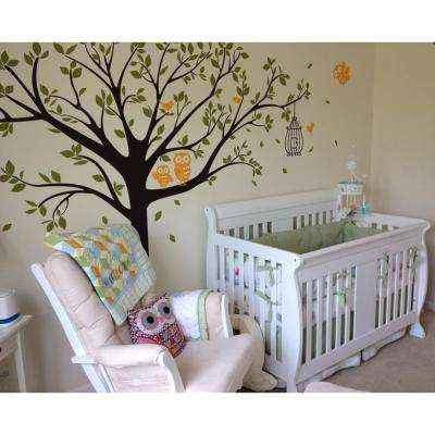 98 in. x 80 in. Colorful Nursery Tree with Cute Owls Removable Wall Decal