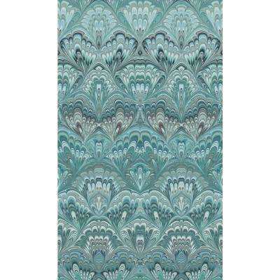 8 in. x 10 in. Taichung Teal Ogee Wallpaper Sample