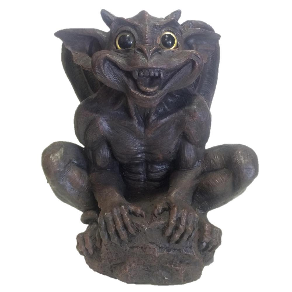 14 in. Father Boris Gargoyle with Gold Eyes Climbing on Rock