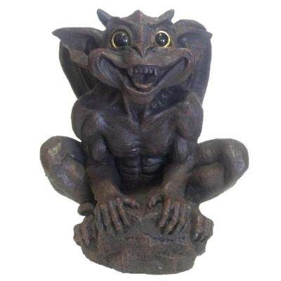 14 in. Father Boris Gargoyle with Gold Eyes Climbing on Rock Home and Garden Statue