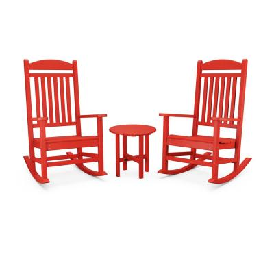 Red Rocking Chairs Patio