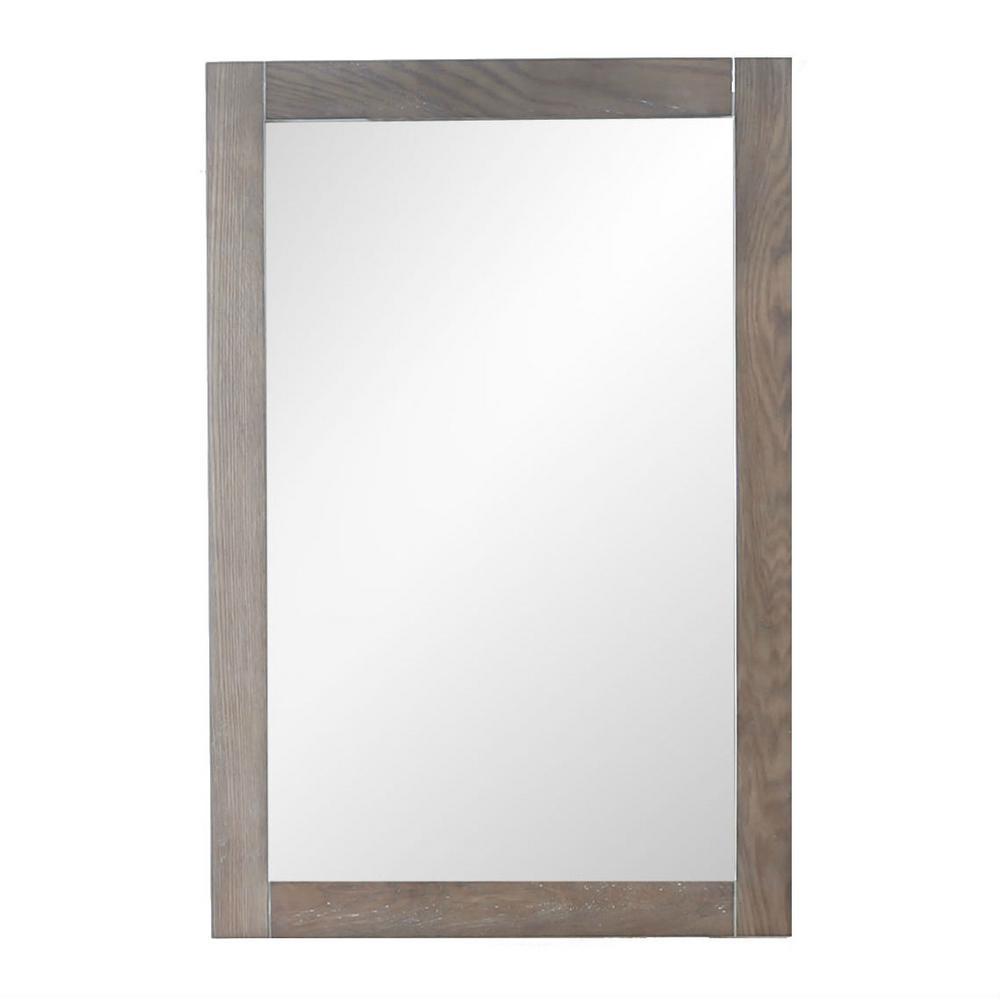 16.00 in. W x 26.00 in. H Framed Rectangular Bathroom Vanity Mirror in Weathered Gray