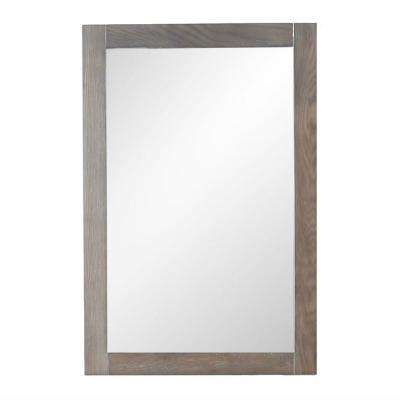 20 in. x 30 in. Framed Wall Mirror in Weathered Brown