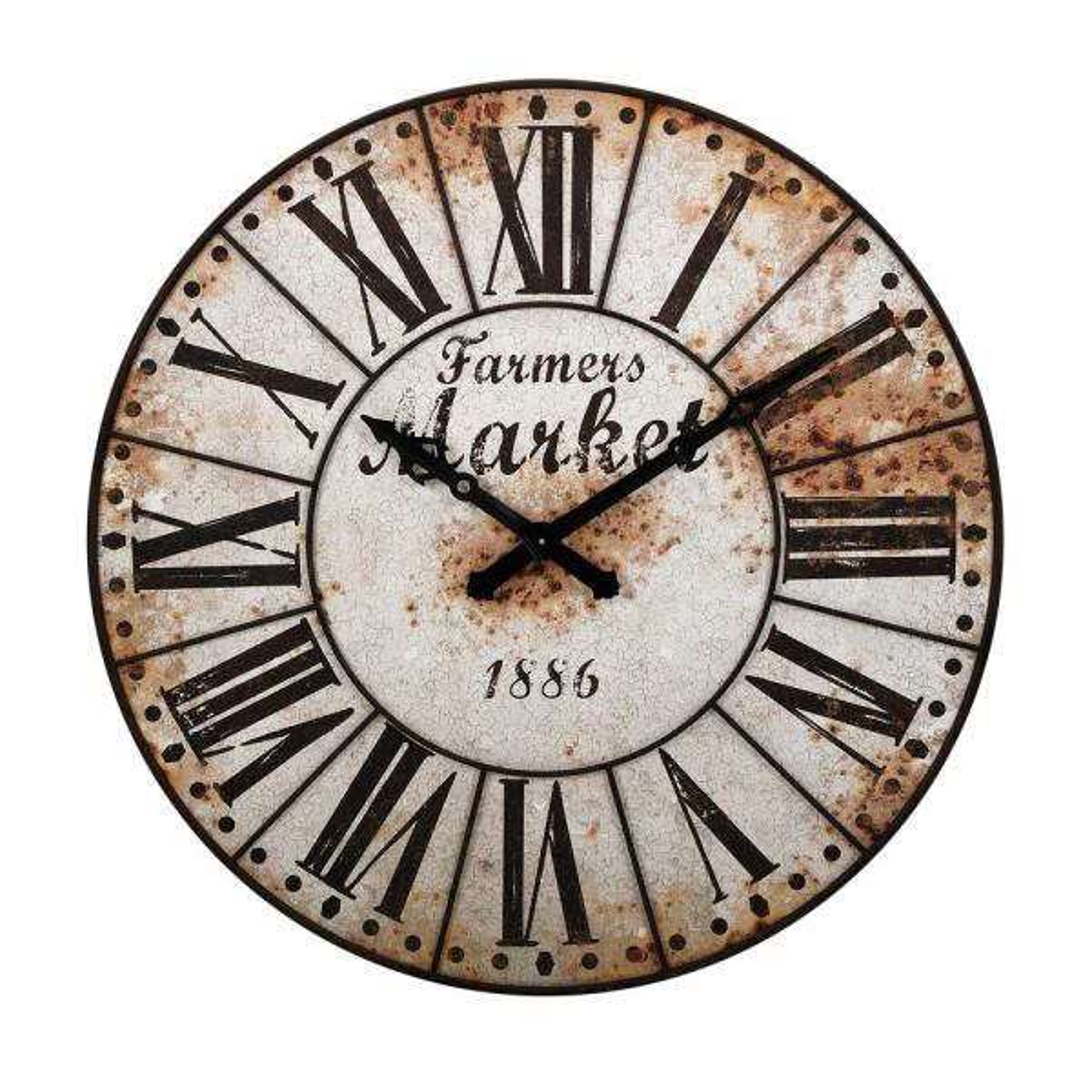 Farmers White Metal Clock