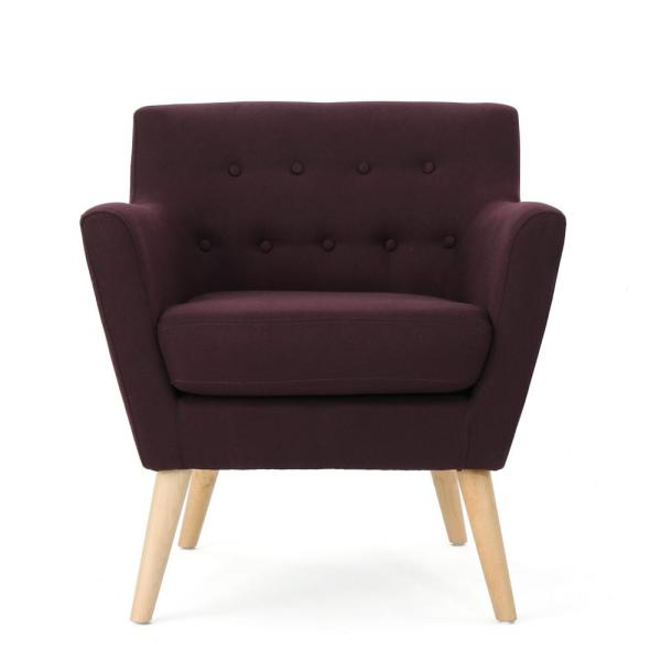 Meena Plum and Natural Upholstered Club Chair