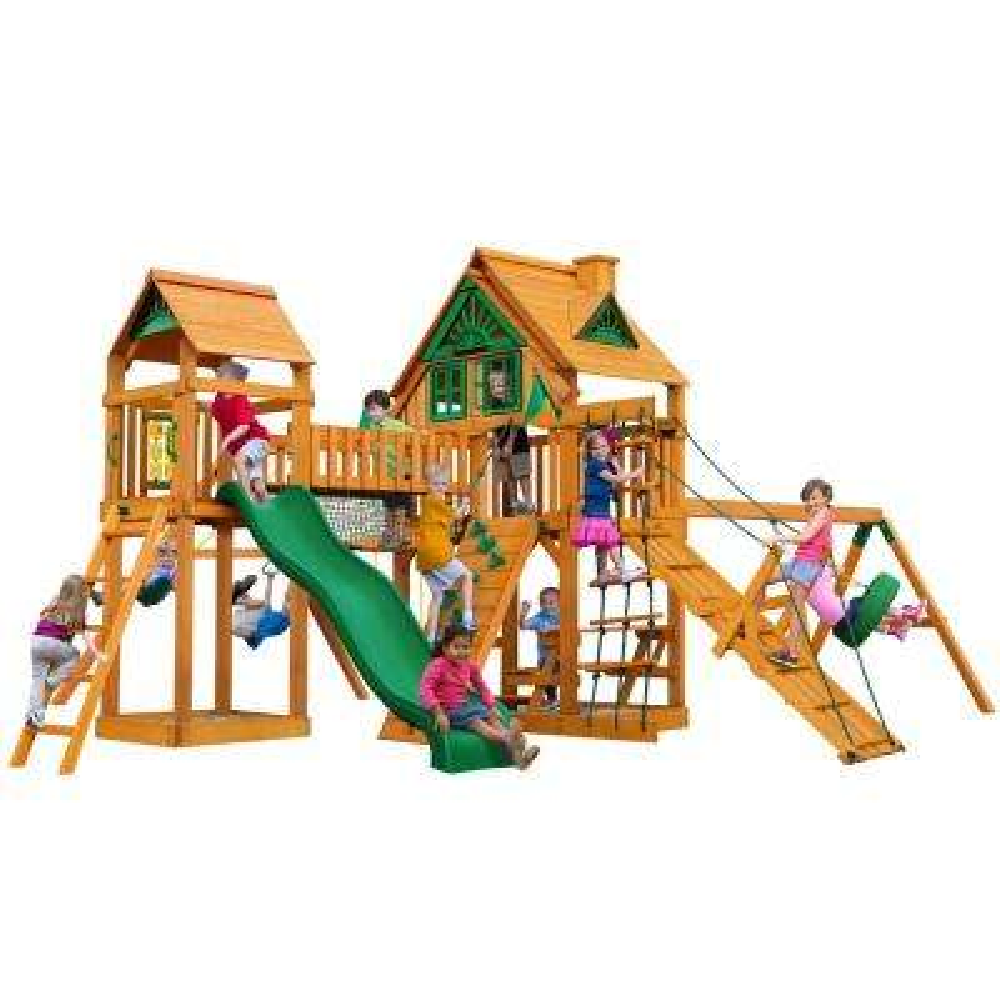 Pioneer Peak Treehouse Swing Set with Amber Posts