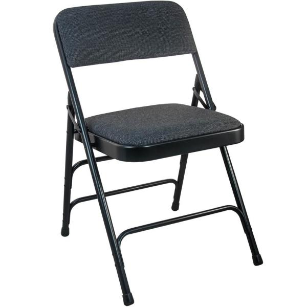 Advantage 1 in. Black Fabric Seat Padded Metal Folding Chair (4-Pack)