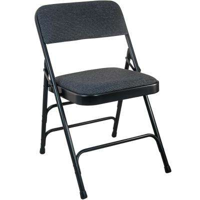 1 in. Black Fabric Seat Padded Metal Folding Chair (4-Pack)