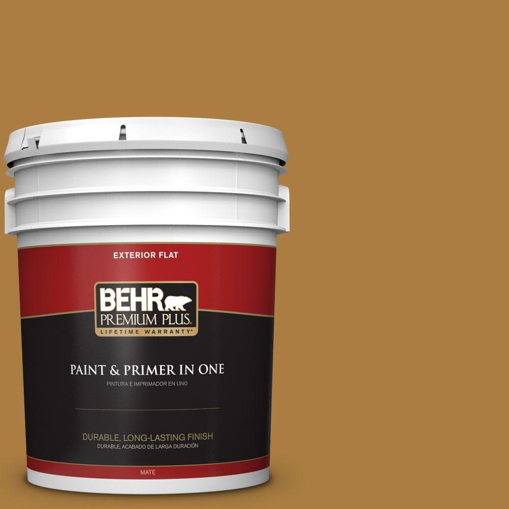 BEHR Premium Plus 5-gal. #300D-6 Medieval Gold Flat Exterior Paint