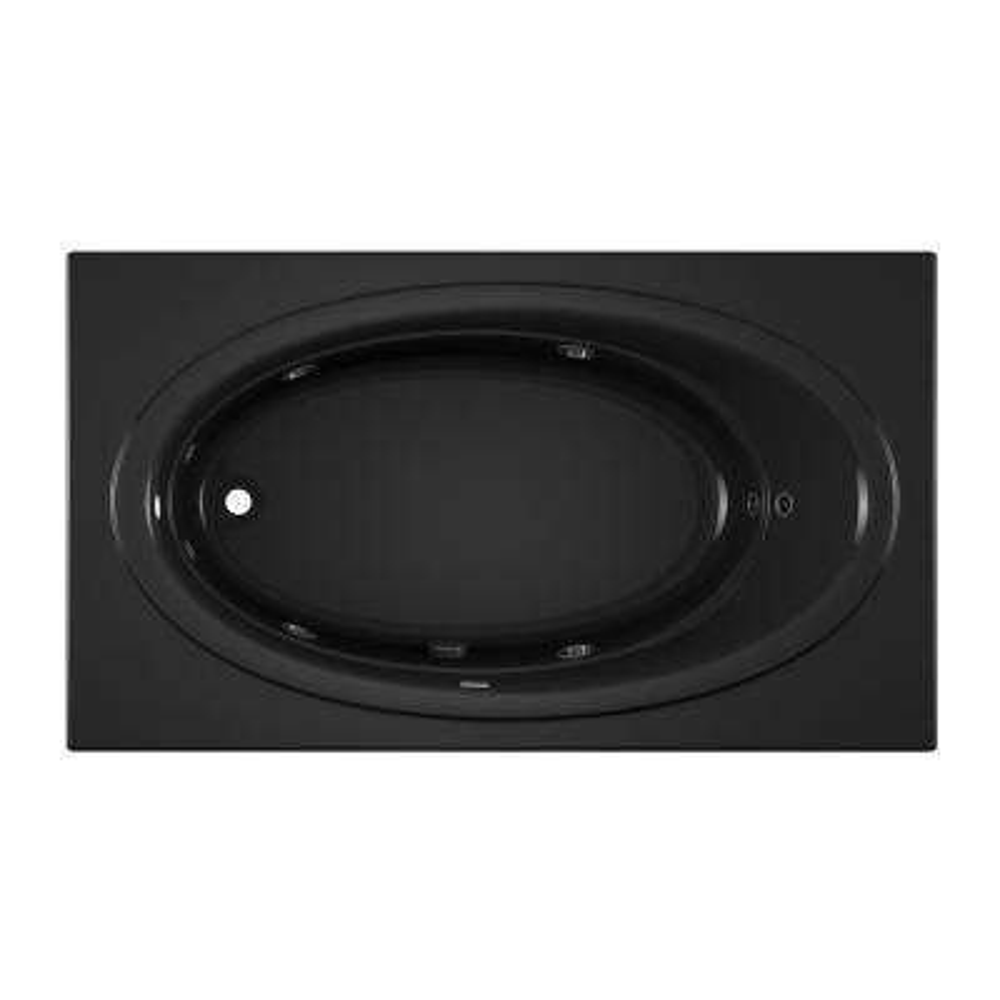 NOVA 72 in. x 42 in. Acrylic Left-Hand Drain Rectangular Drop-In Whirlpool Bathtub with Heater in Black
