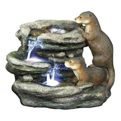 Bright Waters Otters Sculpture Stone Bonded Resin Garden Fountain