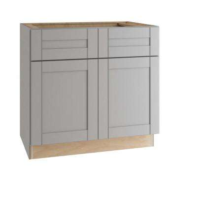Veiled Gray Shaker Assembled Plywood 36 in. x 34.5 in. x 24 in. Sink Base Kitchen Cabinet with Soft Close