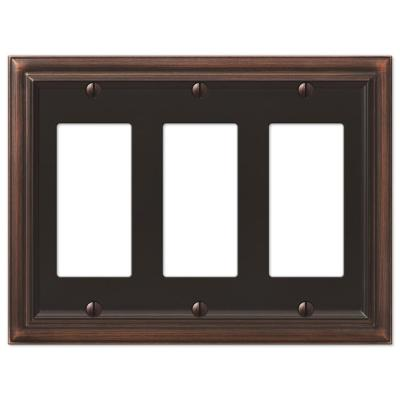 Continental 3 Gang Rocker Metal Wall Plate - Aged Bronze