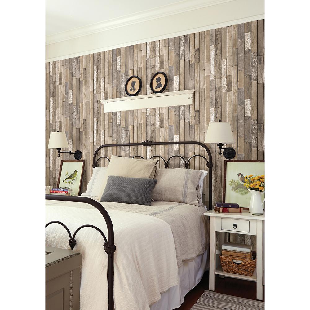 Brewster Barn Board Brown Thin Plank Wallpaper Fd23274 The