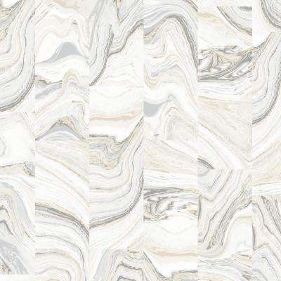 Beige, Ivory and Grey Agate Tile Wallpaper